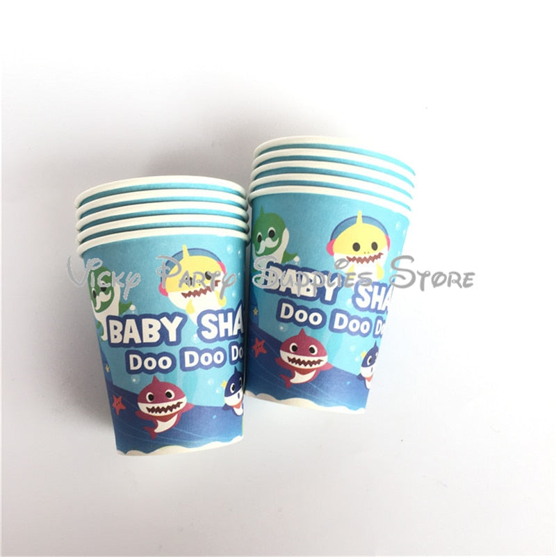 106pcs/lot Baby Shark Disposable Tableware Set Cartoon Fish Marine Theme Birthday Baby Shower Party Flag Decoration Supplies - thefashionique