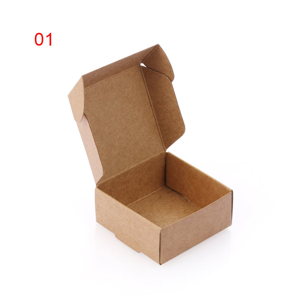 10PCS/pack Handmade Candy Jewelry Packaging Wrapping Cardboard Small Kraft Paper Packing Square Bottom Gift Boxes - thefashionique