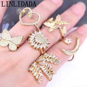 10Pcs New Design Fashion cz ring, adjustable plated mix shape cubic zircon ring,popular jewelry