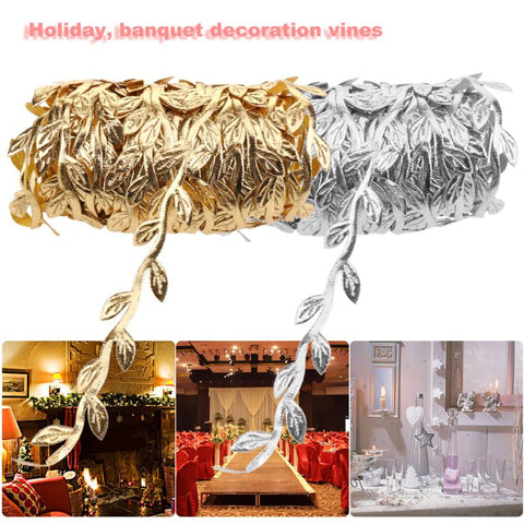 10m Nature Leaf Artificial Vine Leaves Wedding Party Supplies Gold Silver Foliage Garland Decorating Vine Party Festival Decor