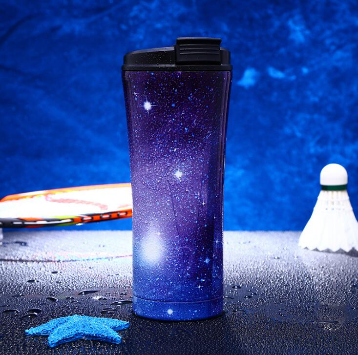 10pcs 17oz/500ml starry sky straws cups Double Wall Stainless Steel Vacuum Insulated Travel Mug Beer Glass Splash Proof Cup - thefashionique