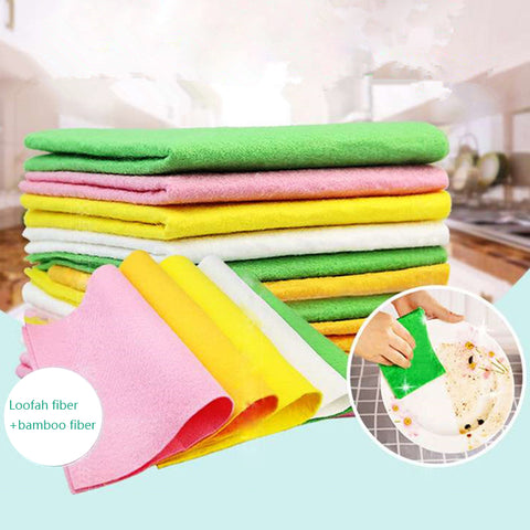 10pcs/pack Washing Cloths Dishcloths Rags Towel Bamboo Fiber House cleaning cloths Bamboo napkins microfiber cleaner gadgets
