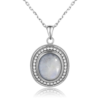 10x12MM Big Natural Moonstone 925 Sterling Silver Jewelry Pendant Necklace With Chain For Women Vintage Anniversary Party Gifts - thefashionique