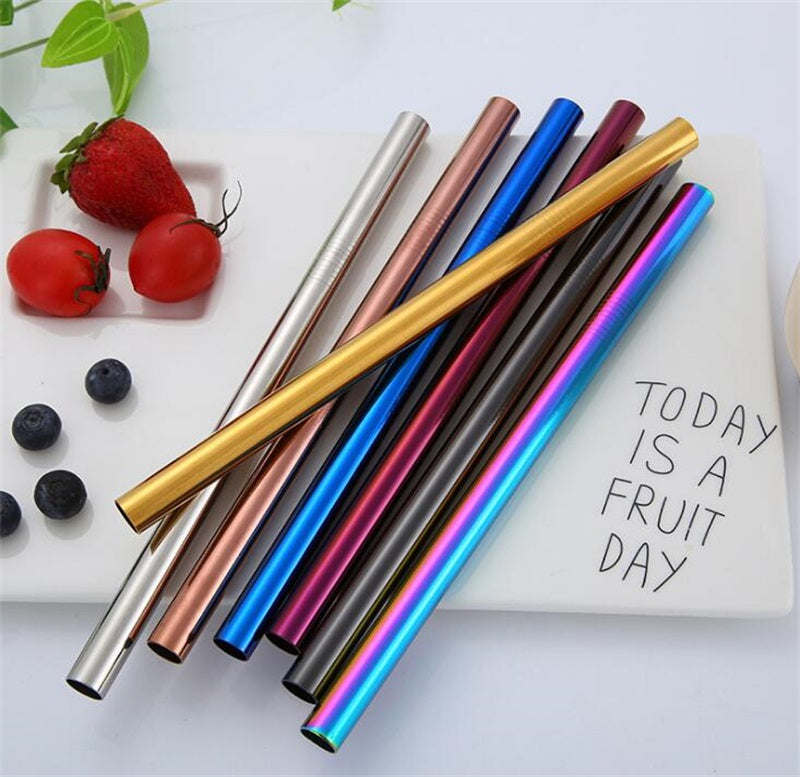 12*215mm 304 Stainless Steel Straw 7 Colors Straight Milk Tea Straw Reusable Colorful Drinking Straw Bar Drinking Tool - thefashionique