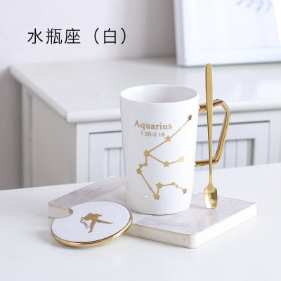 12 Constellation Trace Gold White Black Bone China Coffee Mug Tea Caneca Milk Water Cup Lid Tea Spoon Tassimo Tasse Cafe Tumbler - thefashionique