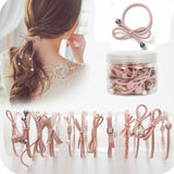 12 Pcs/bottle Ribbon Bowknot Hair Ropes Rubber Band Cute Hair Ties Bow Elastic Hair Band Women Girls Hair Accessories