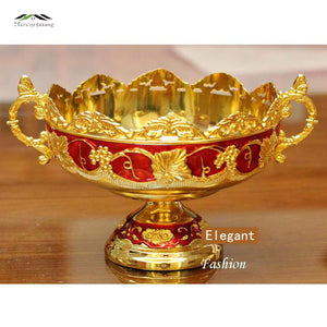 12PCS/LOT Golden Plated Fruit Dish With Handle Dessert Plate Sweet Dishes Epoxy Fruit Rack Plates For Wedding Or Party 21X15X8CM - thefashionique
