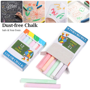 12Pcs/Box New Colourful Kids Dust-free Chalks Drawing Pen Graffiti Chalk Kids Gift School Supplies Educational Accessories