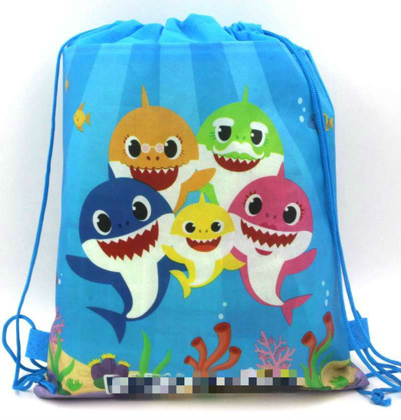 12pcs 34*27cm Baby Shark non-woven fabrics drawstring bags backpack,boy kids Gift bag Birthday Party Favor - thefashionique