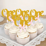 12pcs First Happy Birthday Glitter Paper 1 Cupcake Toppers My 1st Party Decorations Kids One Year Baby Boy Girl Unicorn Supplies - thefashionique