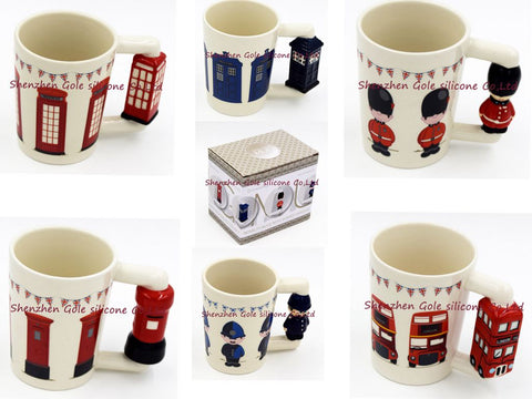 144pcs/lot 2016 Hot new British guard ceramic cups, British Lun Bashi, telephone booths, mailboxes, police, police box mug - thefashionique