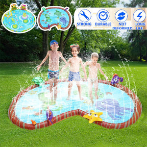 144x105cm Kids Inflatable Water Spray Pad Children Summer Outdoor Water Splash Play Mat PVC Round Water Splash Playing Pool