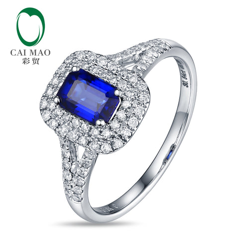 14kt White Gold 0.88ct Natural Sapphires & 0.36ct Diamonds Engagement Ring - thefashionique