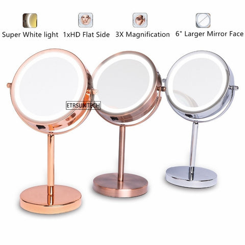 "16pcs 6"" Lighted Makeup Mirror  Double Sided LED Vanity Mirror 3X/1X Magnifying 360 Degree Rotation USB Swivel Tabletop Mirrors"