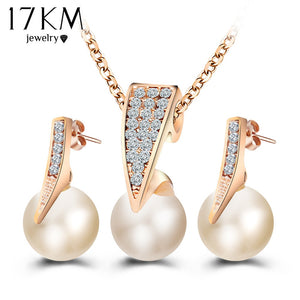 17KM Fashion Imitation Pearl Jewelry Sets Rhinestone Gold Color Necklace Sets for Women Bridal Wedding Water Drop Earrings - thefashionique