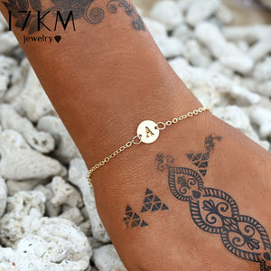 17KM Fashion Letter Bracelet & Bangle For Women Simple Adjustable Gold Color Name Bracelets Pulseras Mujer Jewelry Party Gifts - thefashionique