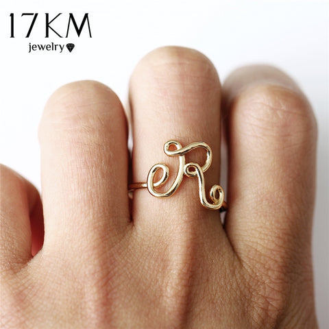 17KM Fashion Letter Rings For Women Simple Gold Silver Color Name Ring Female Statement Party Charm Jewelry Gifts New Design