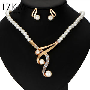 17KM New Style Luxury Bridal Jewelry Set Crystal Beads Necklace Simulated Pearl Earrings Female Wedding Jewelry For Woman - thefashionique