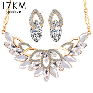 17KM Wedding Gold Color 3 Color Crystal Flower Necklace Jewelry Sets Party Women African Beads Bridal Earrings Accessories - thefashionique