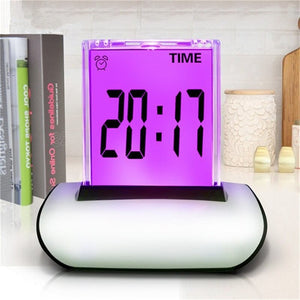 18pcs/Lot Colorful Table Clocks LCD Screen Push Alarm Clock Multi-Functional Large Display Desk Clock With Thermometer Calendar