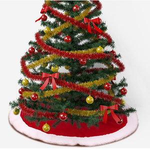 1PC Christmas Tree Skirt Creative Fabric Plush High-grade Brown Tree Skirt Mats for Christmas Party Tree Decorating