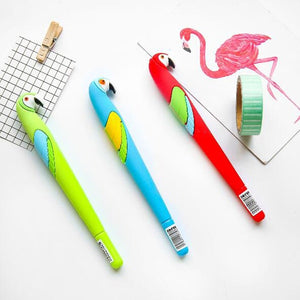 1PC  Colorful Parrots Gel Pen Cartoon Gel Pen Black Ink Blue Ink 0.5mm Pen Office Writing Fun Pens School Kids supplie ss-133