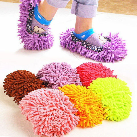 1Pc  Multicolor Dust Mop Slipper House Cleaner Floor Dusting Cleaning Foot Shoe Cover Dust Mop Slipper Home Accessories 2018
