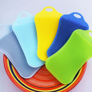 1Pc Silicone Dish Washing Sponge Scrubber Kitchen Cleaning Antibacterial Tool Dish Bowl Magic Cleaning Brush Scouring Pad Wash - thefashionique