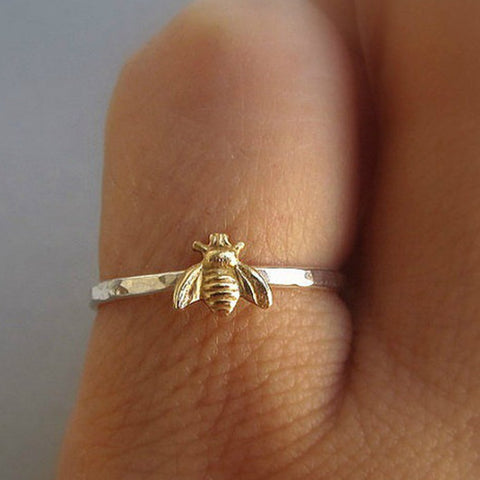 1Pcs Simple Tiny Solid Gold Color Copper Bee Finger Rings Gold Hammered Band Stacking Rings Wedding Anniversary Jewelry - thefashionique