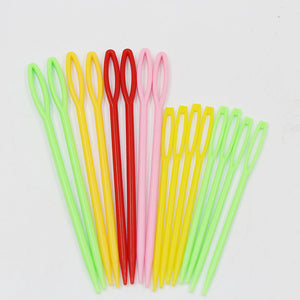 1Set(16PCs) Plastic Knitting Needles Seam Sewing Tool Needlework Needle Arts & Crafts DIY 7cm 9cm Mixed,random color - thefashionique