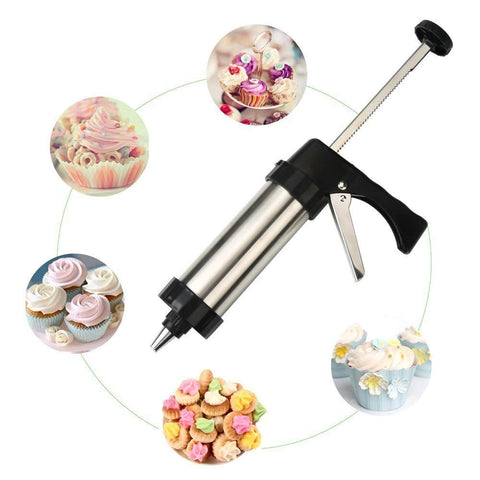 1Set Cookie Decorating Gun Stainless Steel Cookie Press With 13 Discs And 7 Icing Tips Baking Cookie Biscuit Moulds Tools - thefashionique
