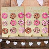 1Set Large Wooden Donut Wall Stand Holder Party Doughnut Party Supplies Birthday Christmas Decor Table Baby shower Wedding Event