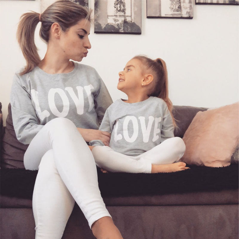 1pc 2018 New Spring Family Look Mother Son Outfits Love Coffee Milk Father Son Matching Clothes Full Sleeve Daughter Mae E Filha - thefashionique