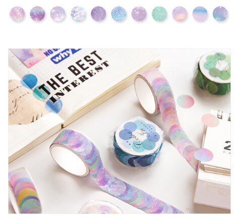 1pc Beautiful and simple adhesive tape Wave Point Series Decoration Notes School stationery Party supplies (ss-338)