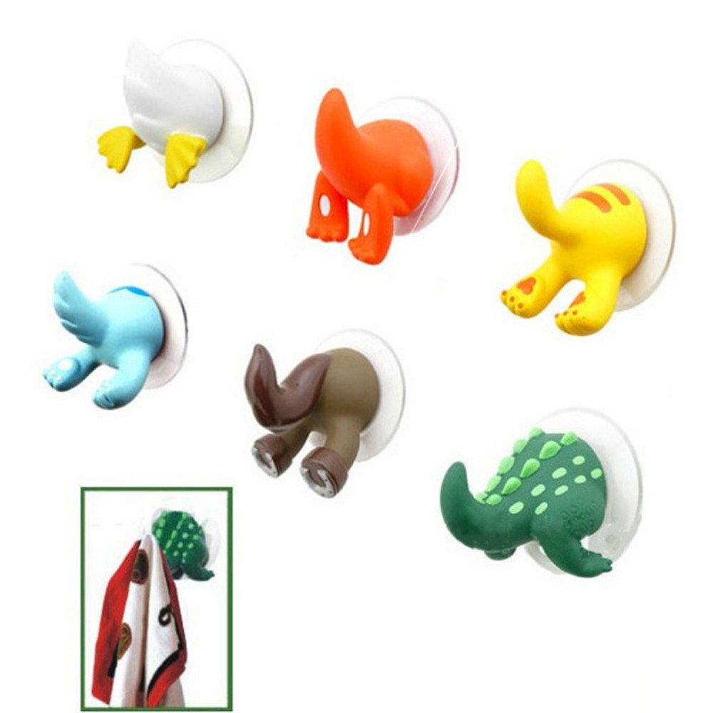 1pc Cartoon Lovely Animal Tail Rubber Sucker Hook Key Towel Hanger Holder Hooks clothing key hanger wall kitchen accessories - thefashionique