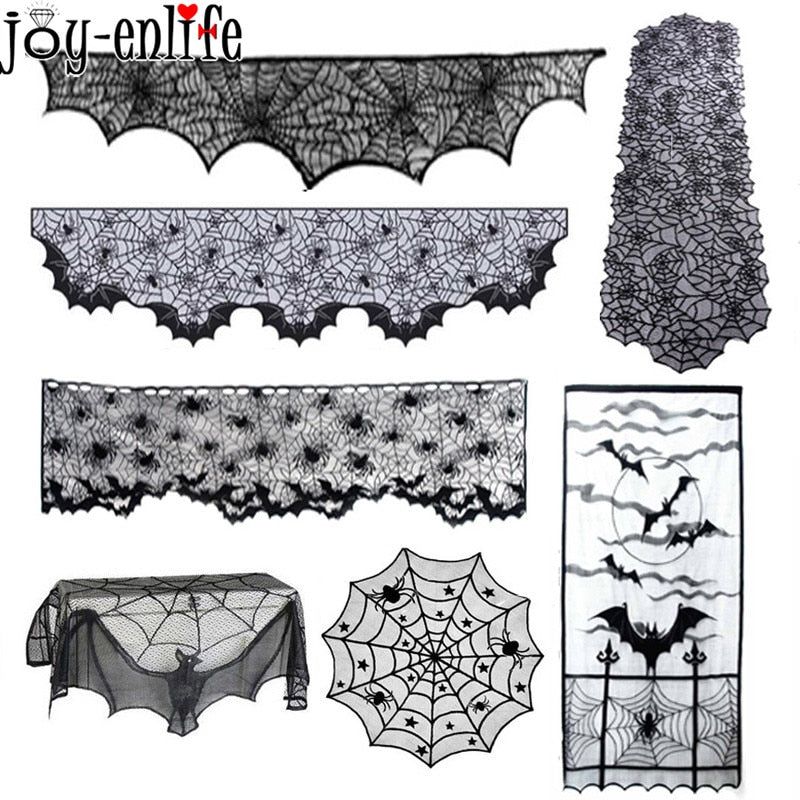 Halloween Black Lace Table Cloth Spiderweb Fireplace Mantle Scarf Cover Decor
