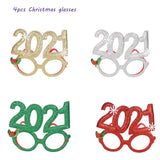 1pc Merry Christmas Tree Reindeer Round Frame Glasses Children Decoration Xmas Glasses Baby Navidad 2021 Party Birthday Supplies