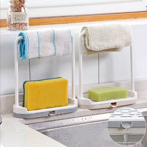 1pc Plastic Kitchen Sink Sponge Scrubbers Cleaning Brush Soap Towel Rack Holder Drainer (Random Color) - thefashionique