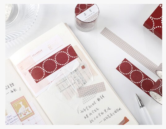 1pc simple adhesive tape Decoration Notes Circle grid Series School stationery Party supplies (ss-339)