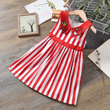 2 Color Striped Lapels Love Heart Pattern Dress For Girls Party Princess Dress Summer Tutu Kids Clothes Toddler Girl Clothes
