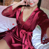 2 Pcs Lingerie Set Women Silk Pajamas Sexy Lace Robe Sets  Lady Nightgown Sleepwear A7 A8