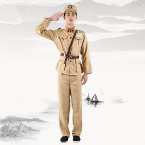 2 colos military cosplay costume men chinese military uniform clothing historical Army Suit Kuomintang soldier cosplay