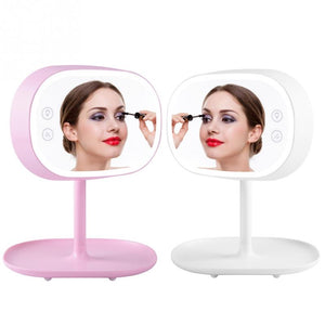 2-in-1 LED Makeup Mirror + Desktop Lamp Adjustable Rechargable Shooting Filling Lights c - thefashionique