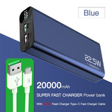 20000mAh Super Fast Charger Power Bank USB Type C Fast Charge PD QC 3.0 Quick PowerBank Digital Display Portable Mobile Power