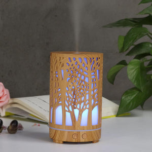 200ml Ultrasonic Air Humidifier Forest Aroma Essential Oil Diffuser Hallow Wood Grain 7 Color LED Aromatherapy Humidificador