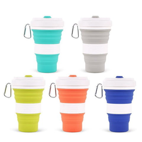 200pcs 5 Colors Collapsible Silicone Coffee Cups Outdoor Travel Portable Folding Water Cups 550ml Free Shipping - thefashionique
