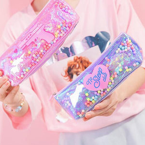 200pcs/lot Korean Heart Letters Cosmetic Case For Women Cute Zipper Student Pencil Pouch Travel Portable coin Bag Grils Gift - thefashionique