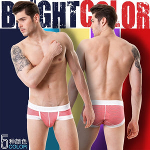 2015 New U-bag stripe men's cotton brief short stretched cotton pants high quality men's underwear intimate men's undergarment - thefashionique