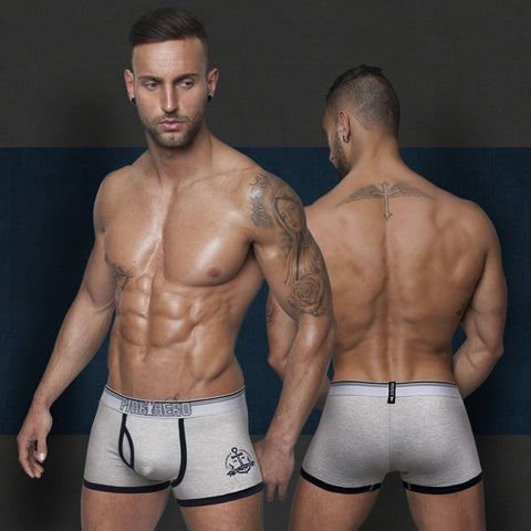 2015 New action pinstripe men's boxer short soft stretched cotton trunk high quality men's underwear intimate men's undergarment
