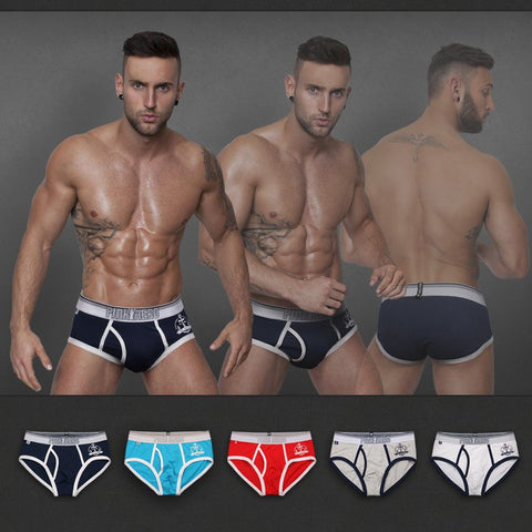 2015 New side opening men's cotton brief short stretched cotton pants high quality men's underwear intimate men's undergarment